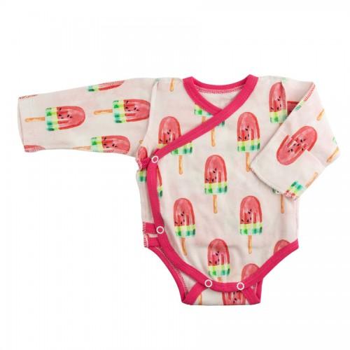 Бодик для недоношенных детей Мороженко с розовой окантовкой