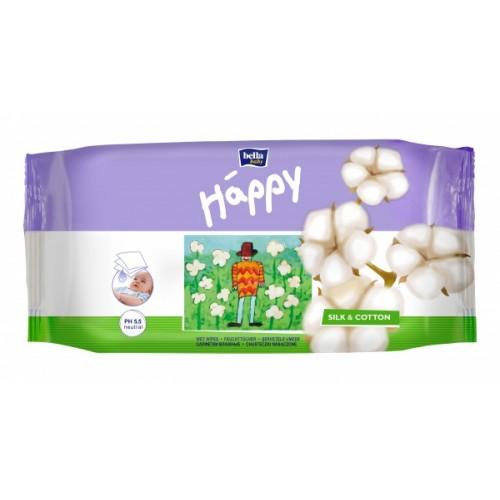 Влажные салфетки Bella Happy Silk & Cotton, 64 шт.
