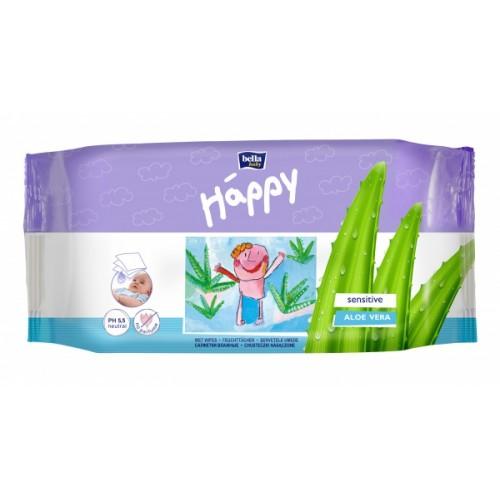 Влажные салфетки Bella Happy Sensitive&Aloe Vera, 56 шт.