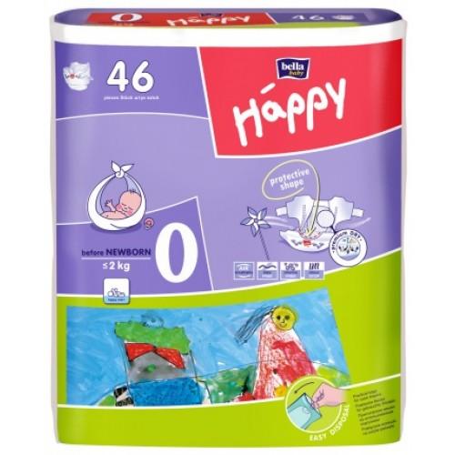 Подгузники Bella Happy Before Newborn для недоношенных детей (0-2 кг) 46 шт.